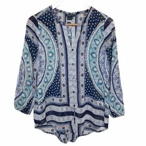 Lucky Brand Boho Peasant Paisley Top Size Small